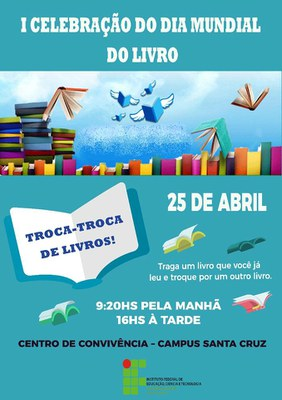 Campus celebrará o Dia Mundial do Livro.
